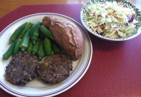 Franklin's black bean burgers finished meal