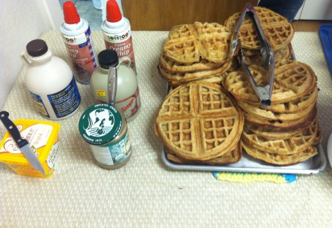 vegan waffles maple syrup almond butter and soy whipped cream